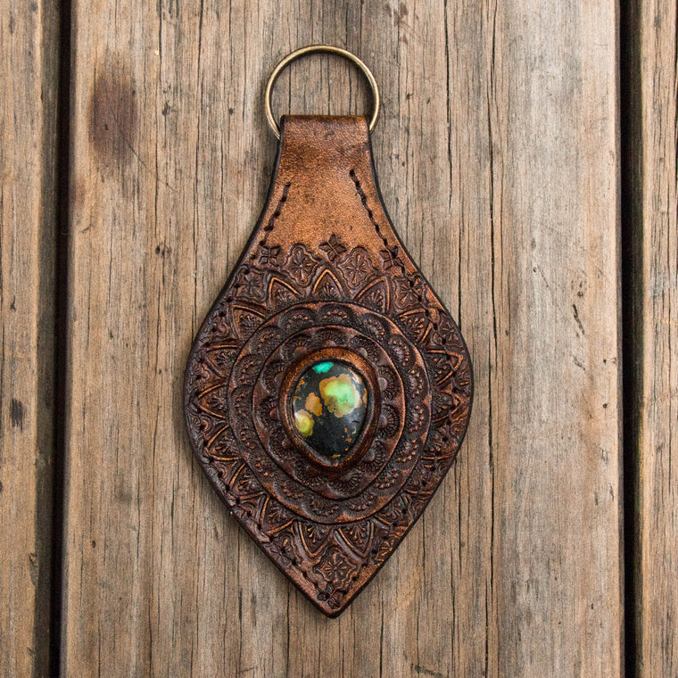 Classic Mandala Key Ring with High Grade Turquoise