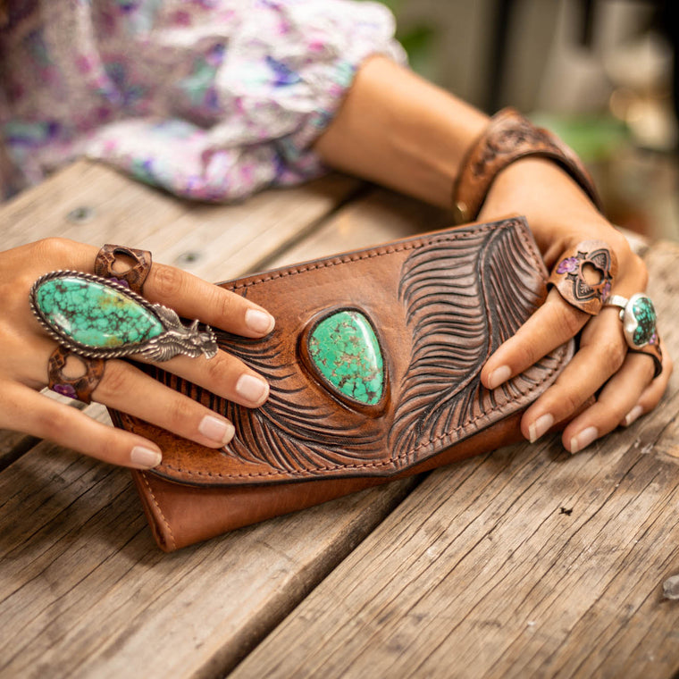 Eagle Feather Wallet with Kingman Turquoise