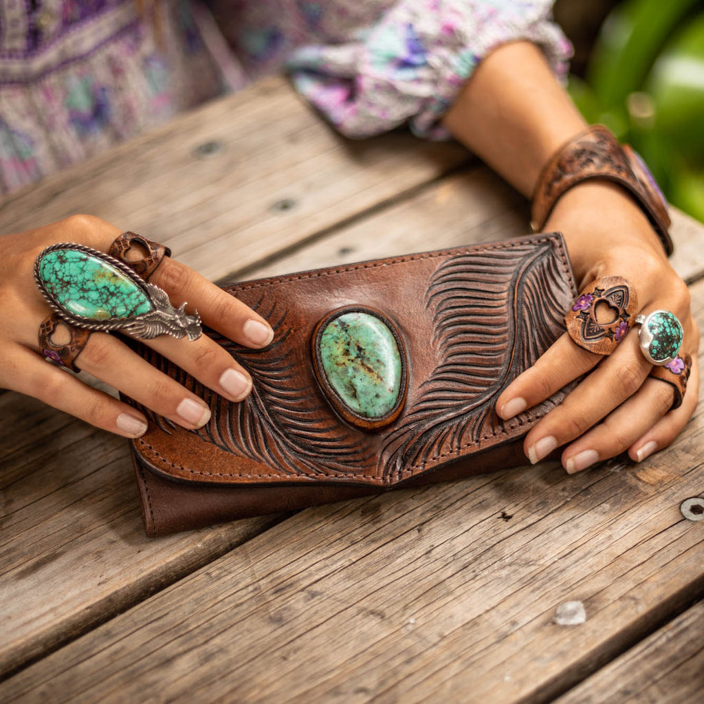 Eagle Feather Wallet with African Turquoise - Buffalo Girl