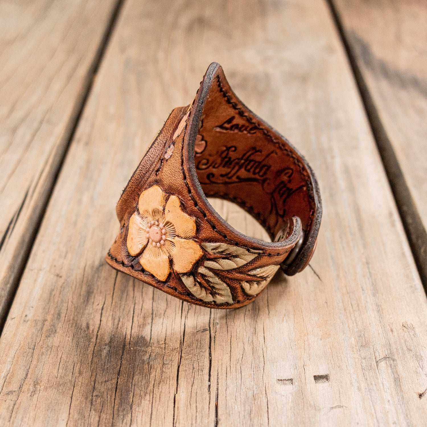 Desert Bloom Cuff with Orange Calcite - Buffalo Girl