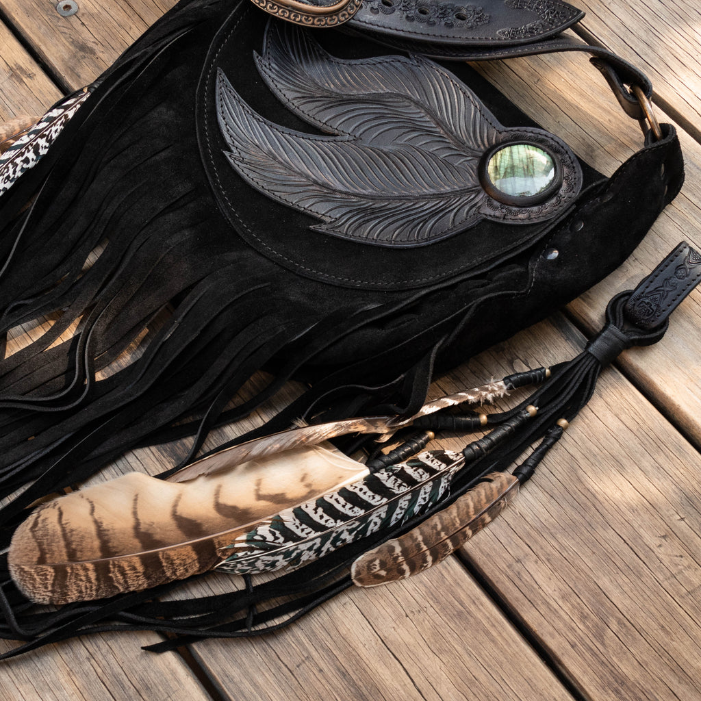 Dreamcatcher Festival Bag with Labradorite - Black - Buffalo Girl
