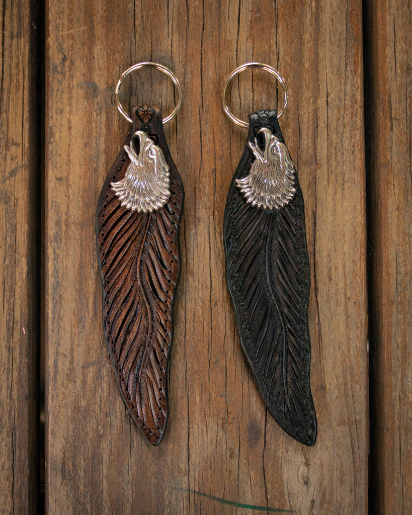 Hand-Carved Rustic Eagle Feather Key Ring
