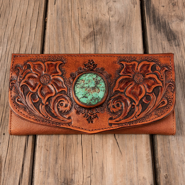 Floral Carving Wallet with African Turquoise