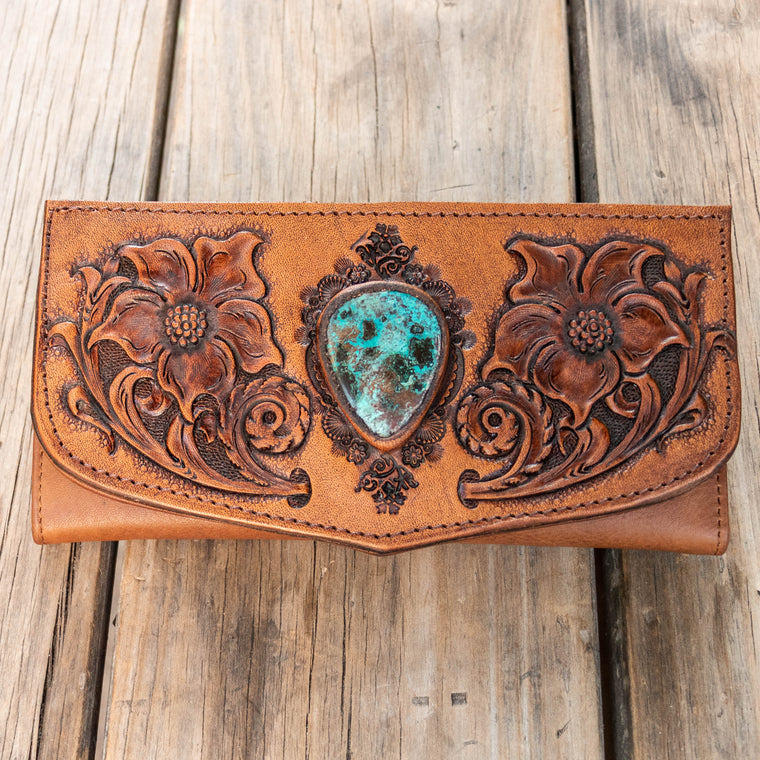 Floral Carving Wallet with Chrysocolla