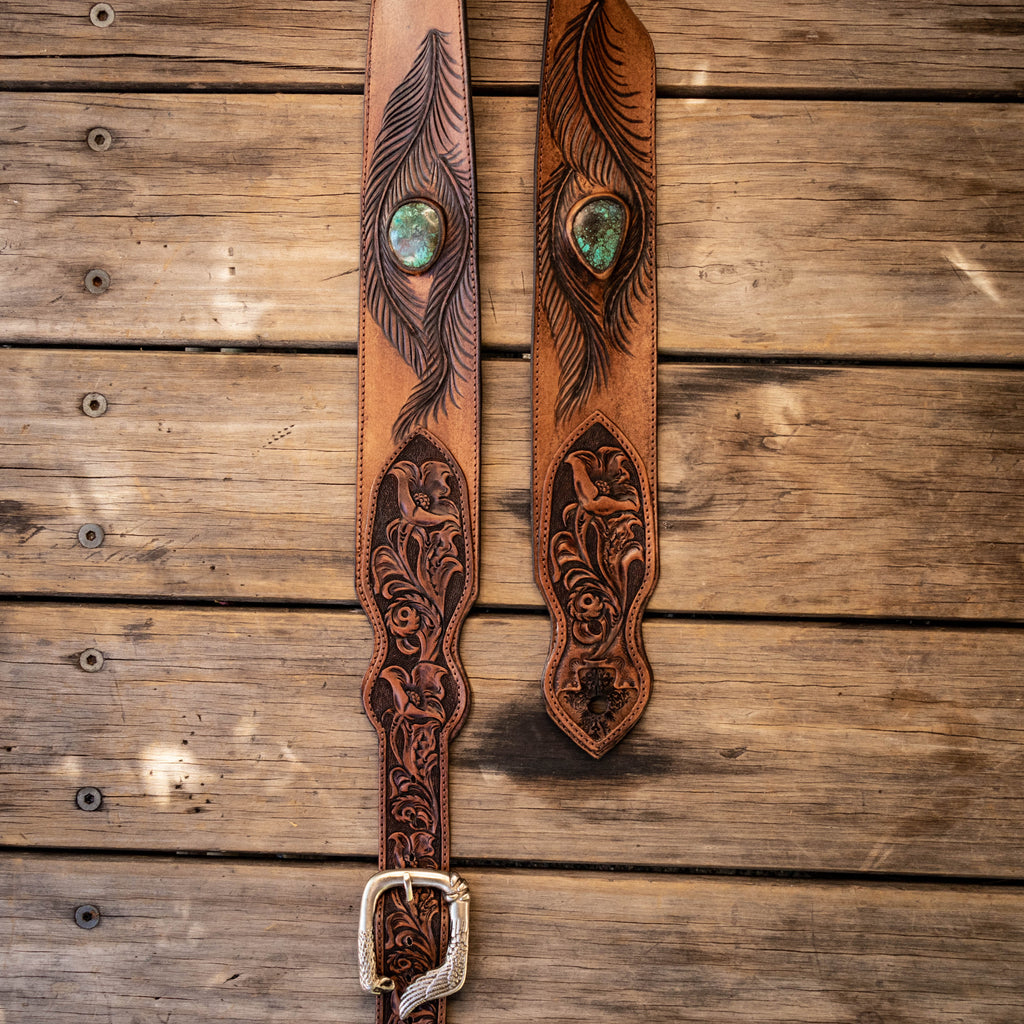 Western Floral Guitar Strap with High Grade Turquoise - Buffalo Girl