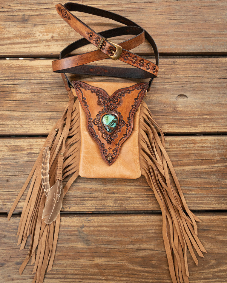 Gypsy Wanderer Phone Pouch with High Grade Turquoise