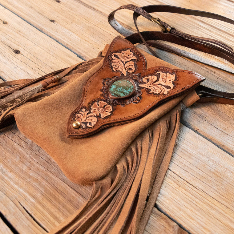 Hand Carved Gypsy Wanderer Phone Pouch with High Grade Turquoise