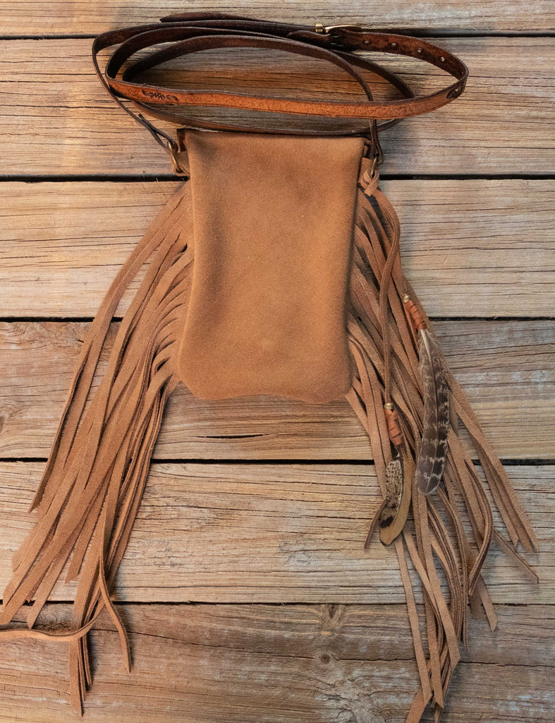 Hand Carved Gypsy Wanderer Phone Pouch with High Grade Turquoise - Buffalo Girl