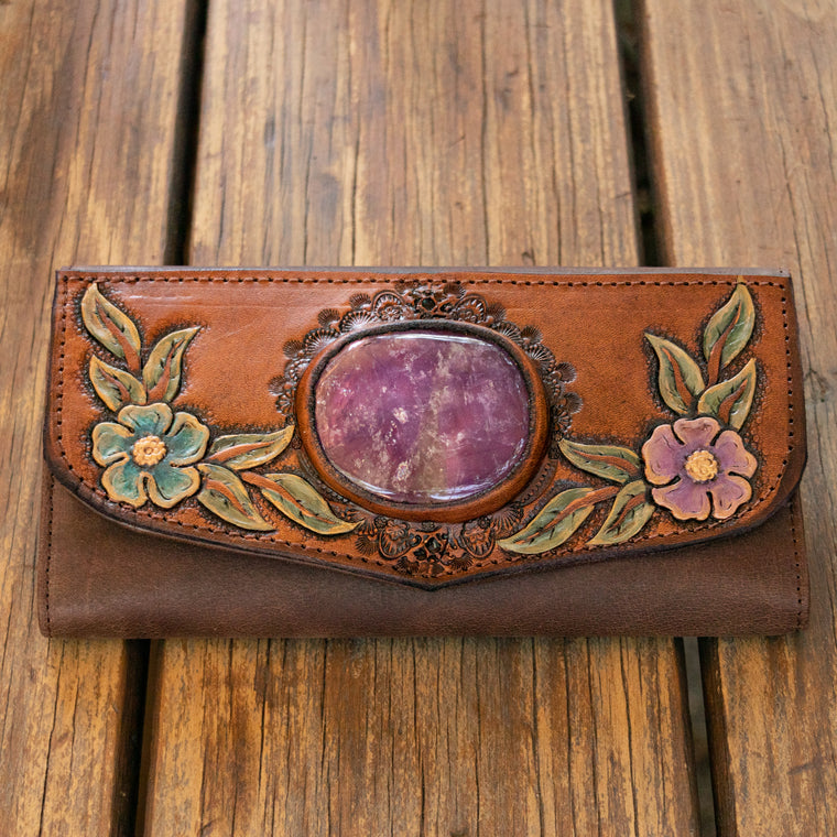 Hand Painted Flower Wallet with Amethyst