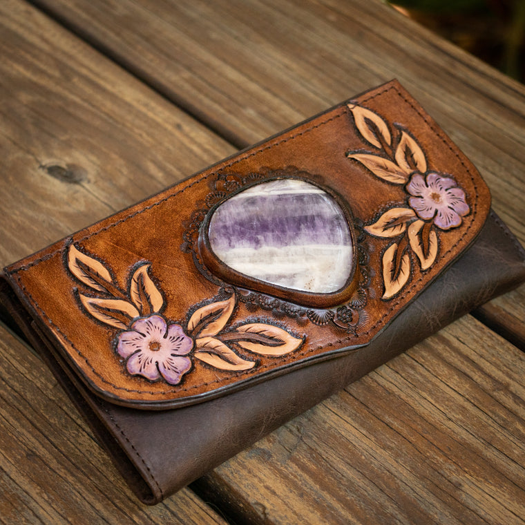 Hand Painted Flower Wallet with Amethyst - Buffalo Girl