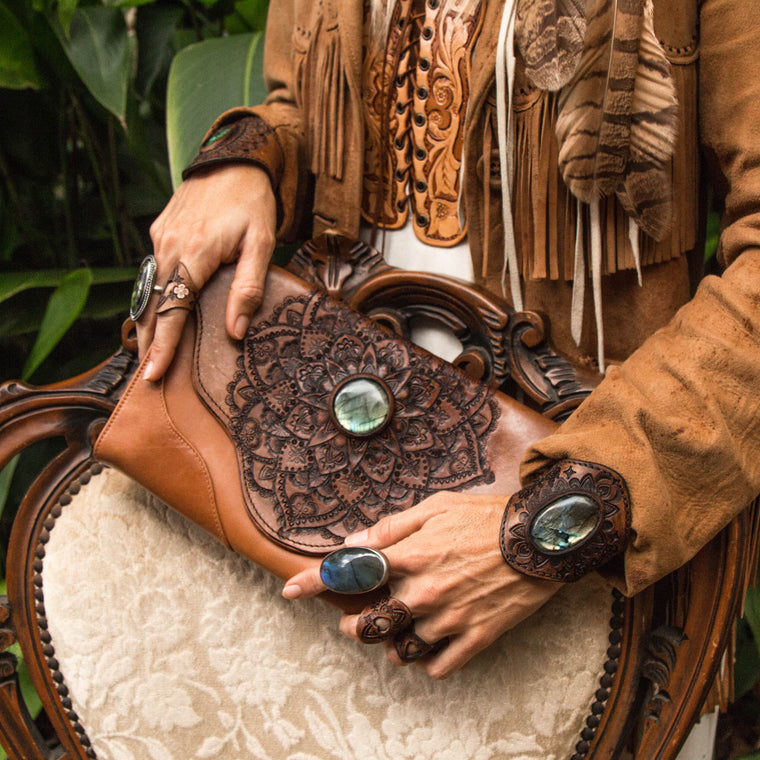 Classic Mandala Whiskey River Clutch with Labradorite