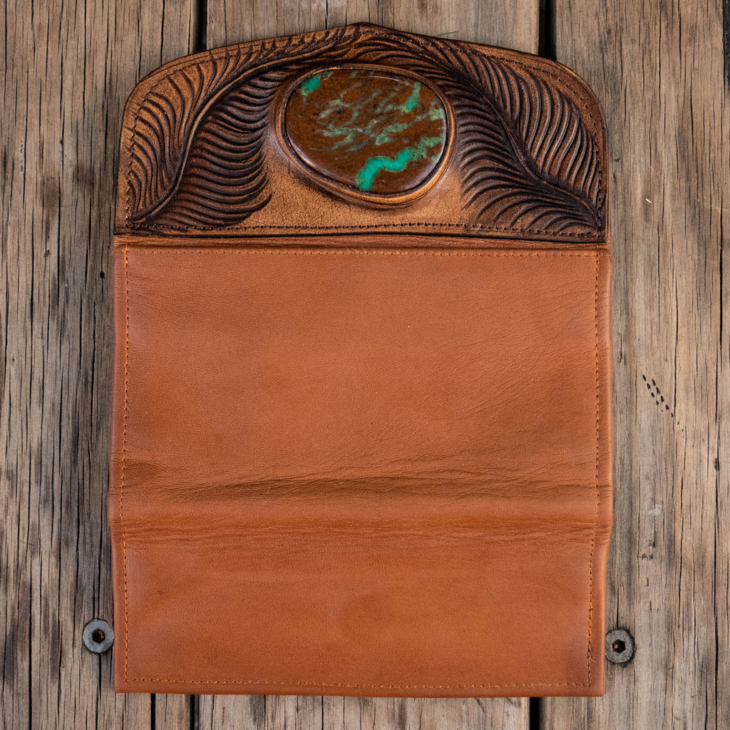 Eagle Feather Wallet with Chrysoprase - Buffalo Girl