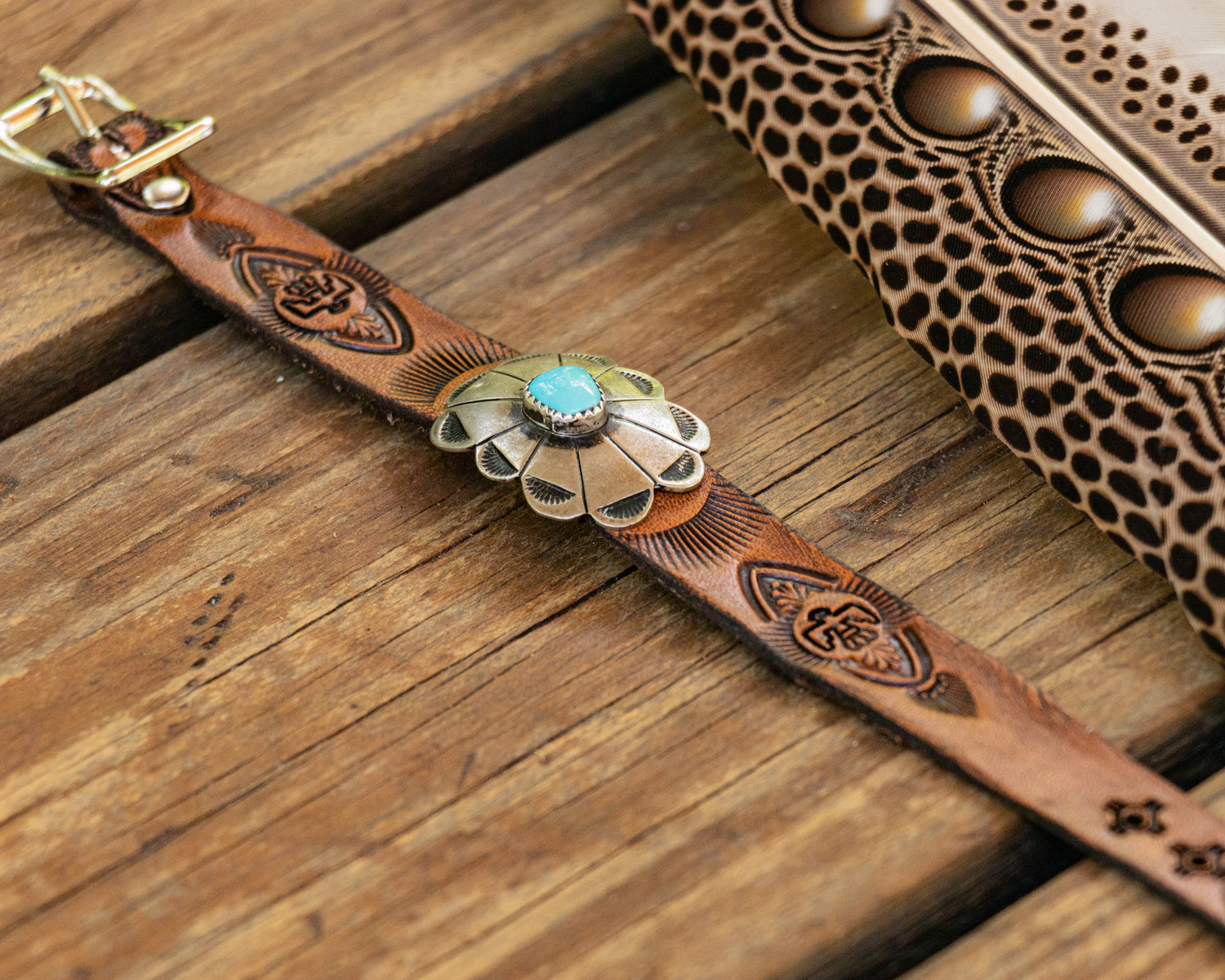 Little Leather Cuff with Sleeping Beauty Navajo Concho - Buffalo Girl