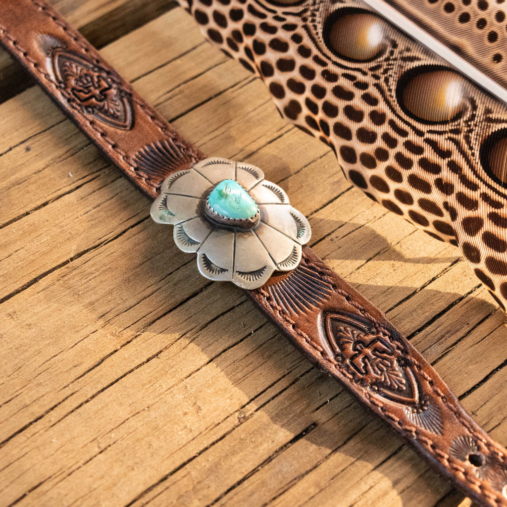 Little Navajo Concho Cuff with Sleeping Beauty Turquoise - Buffalo Girl