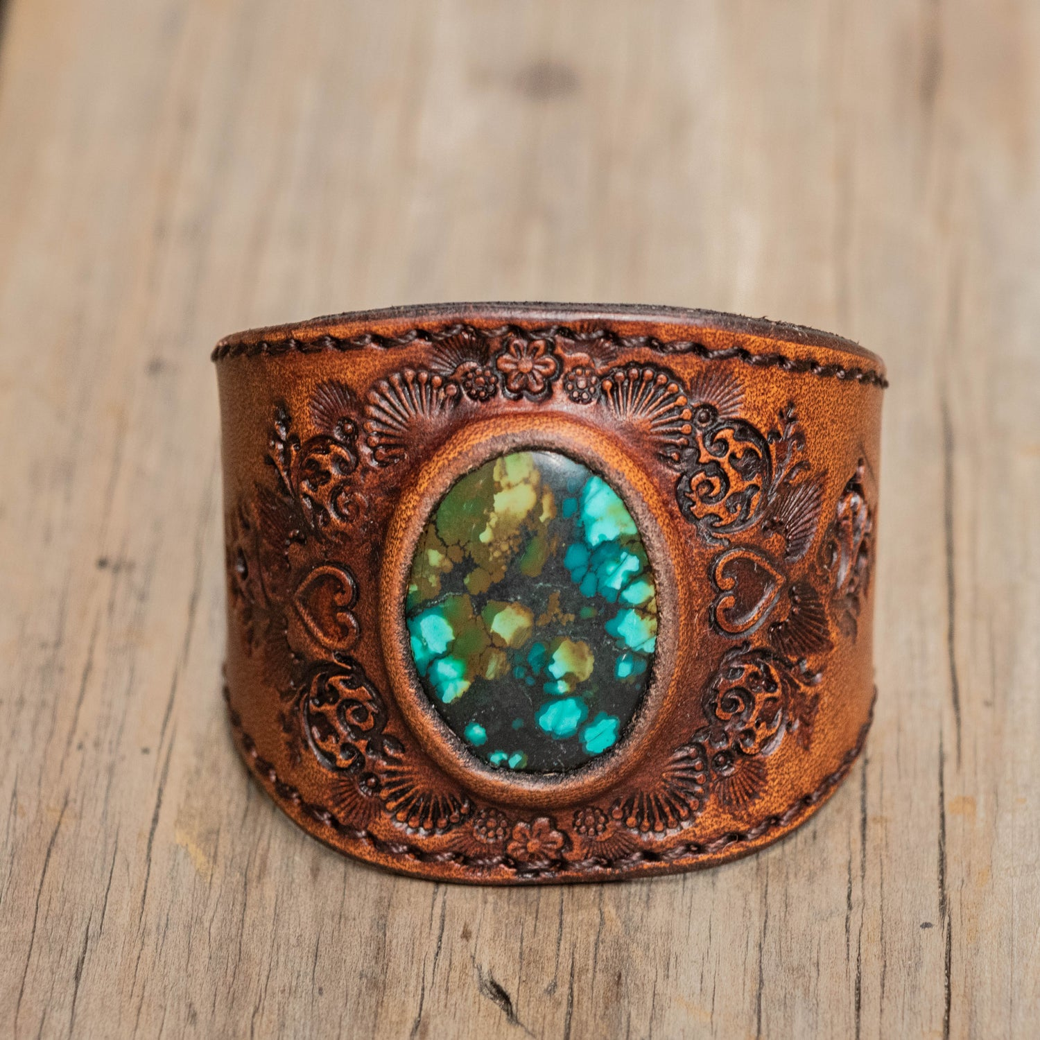 Mandala Cuff with High Grade Turquoise - Buffalo Girl