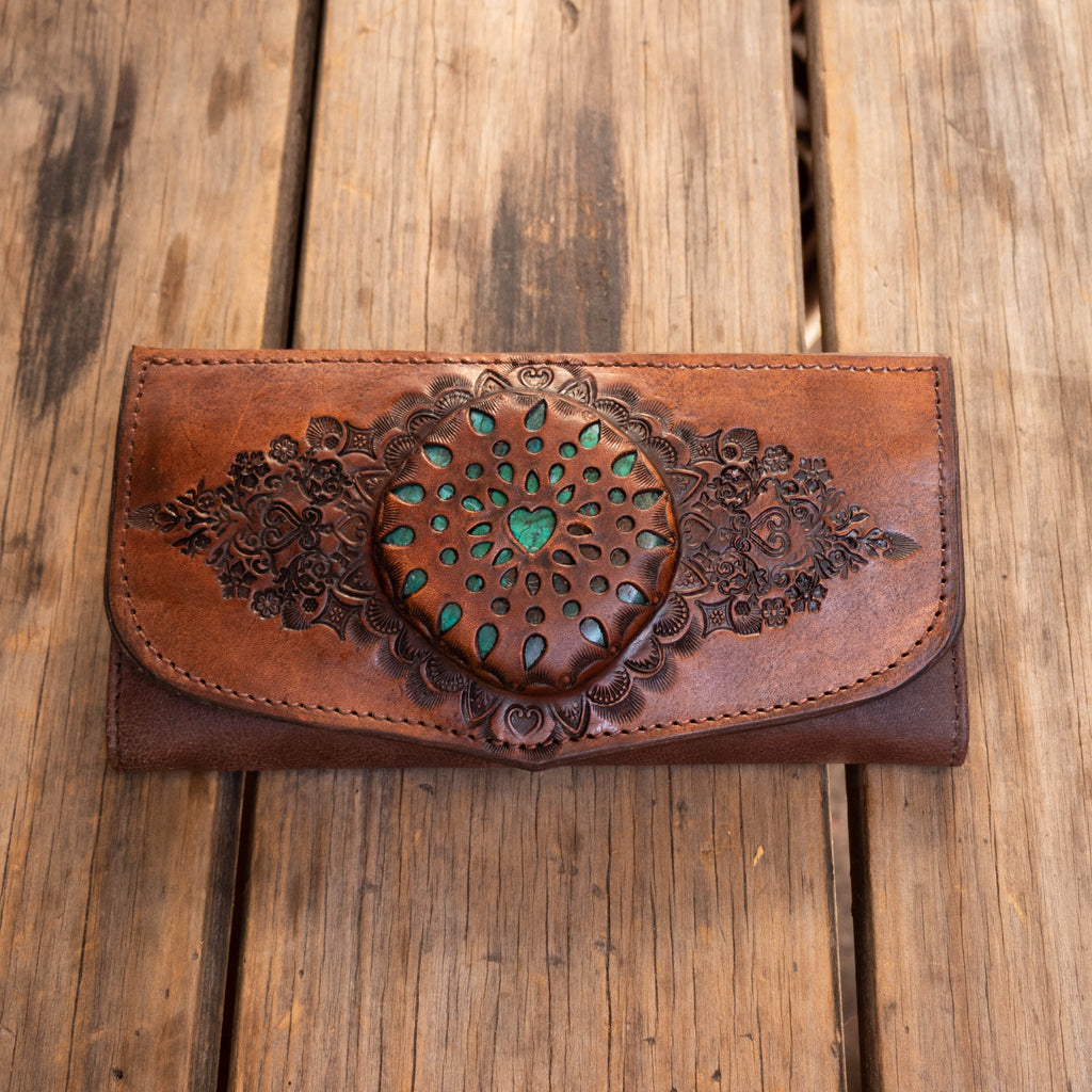 Moroccan Mandala Wallet with Chrysocolla - Buffalo Girl