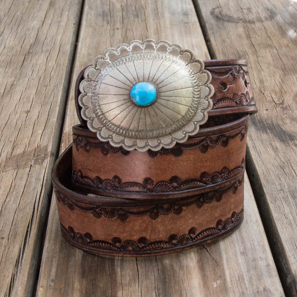 Stamped Belt with Vintage Navajo Concho - Buffalo Girl