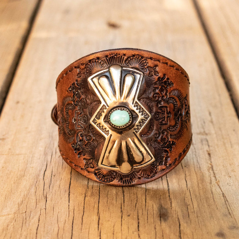 Navajo Concho Cuff with Sleeping Beauty Turquoise - Buffalo Girl