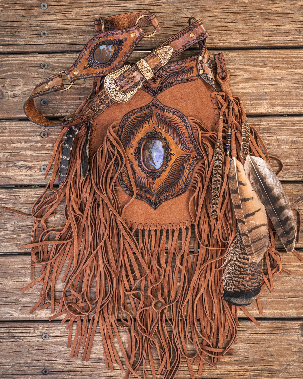 Apache Tasseled Bag with Boulder Opal