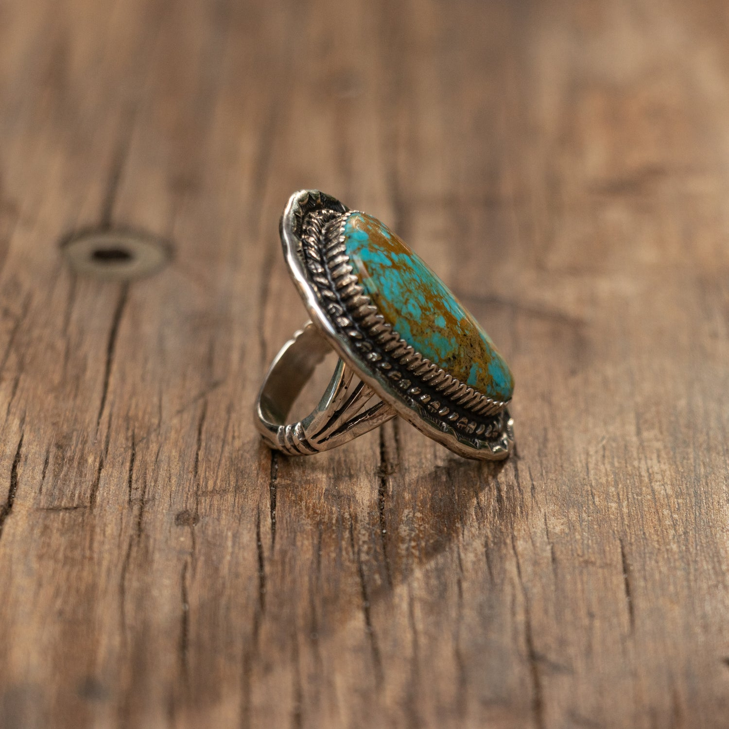 Sterling Silver Ring with Kingman Turquoise