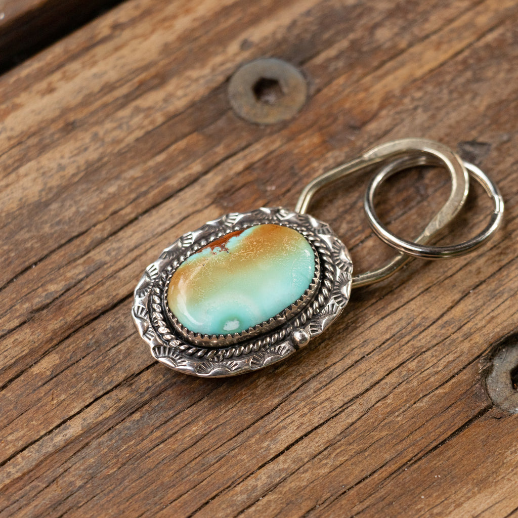 Large Sierra Nevada Turquoise Silver Key Ring