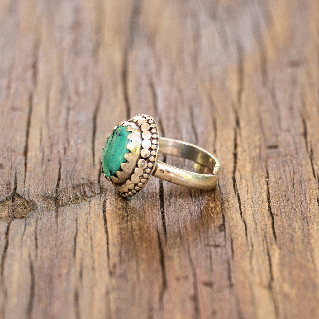 Sterling Silver Ring with Tibetan Turquoise