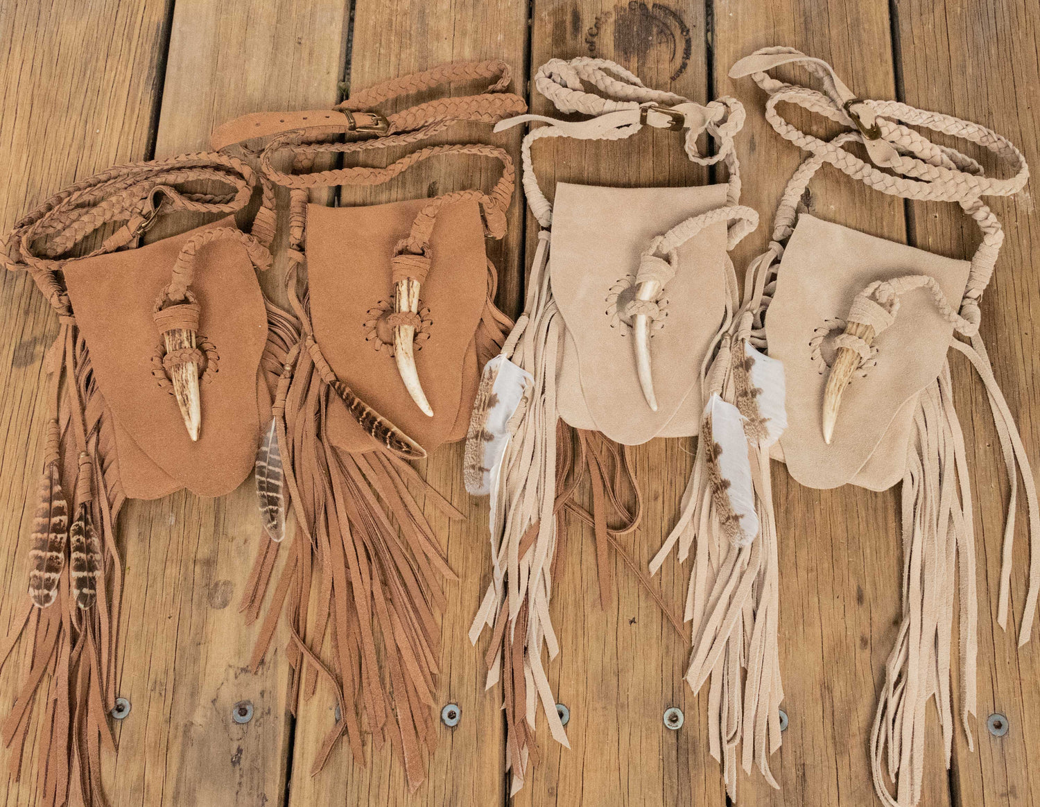 Suede Warrior Phone Pouch with Stag Horn Fastening - Buffalo Girl
