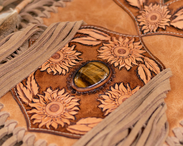 Petite Apache Tasseled Bag with Tiger's Eye