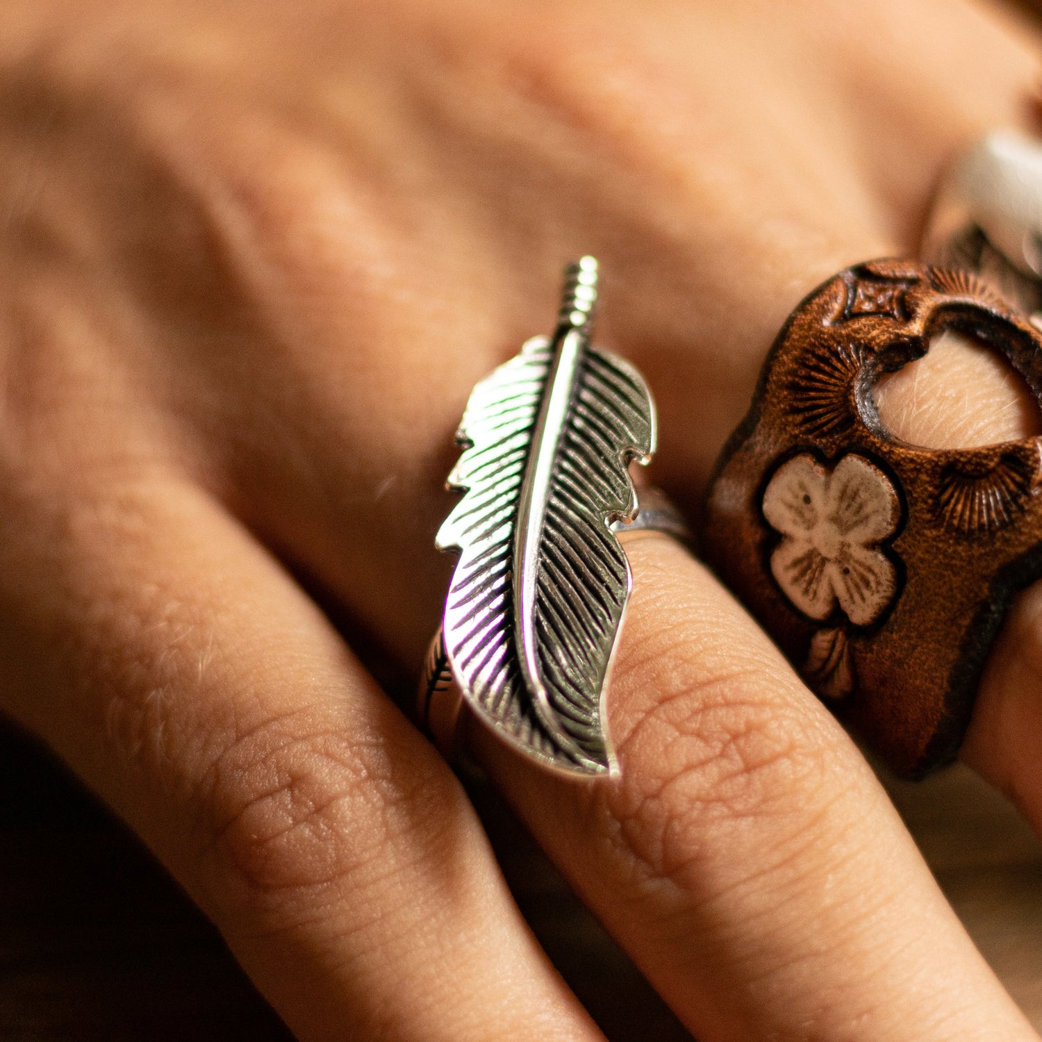 Silver-Little-Feather-Ring-Buffalo-Girl