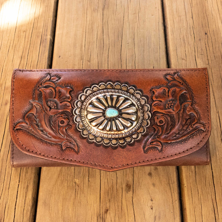 Western Floral Wallet with Navajo Concho - Buffalo Girl