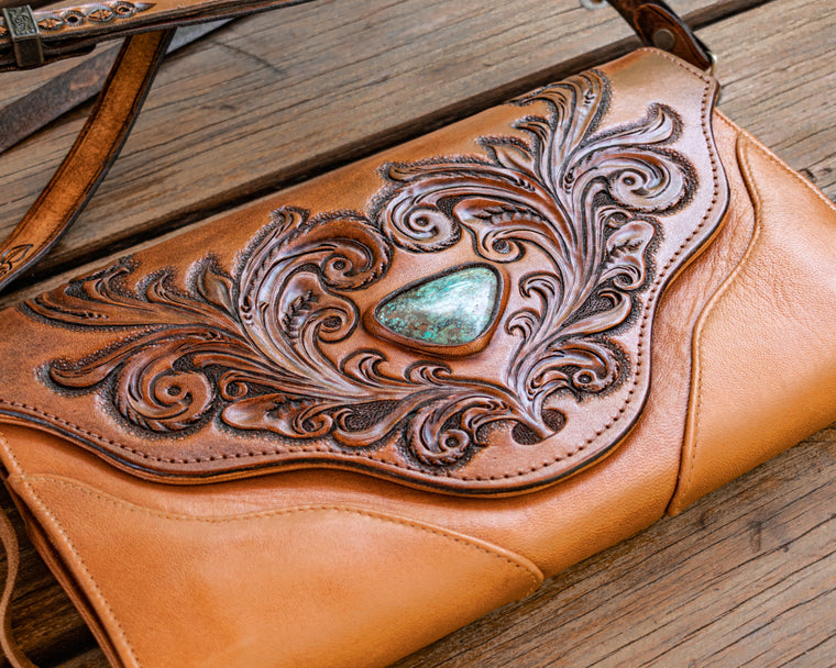 Whiskey River Clutch with High Grade Turquoise