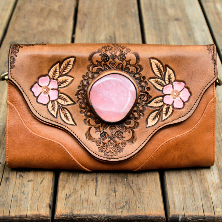 Whiskey River Clutch with Rose Quartz