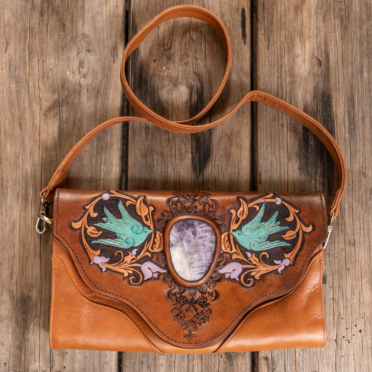 Whiskey River Clutch with Amethyst