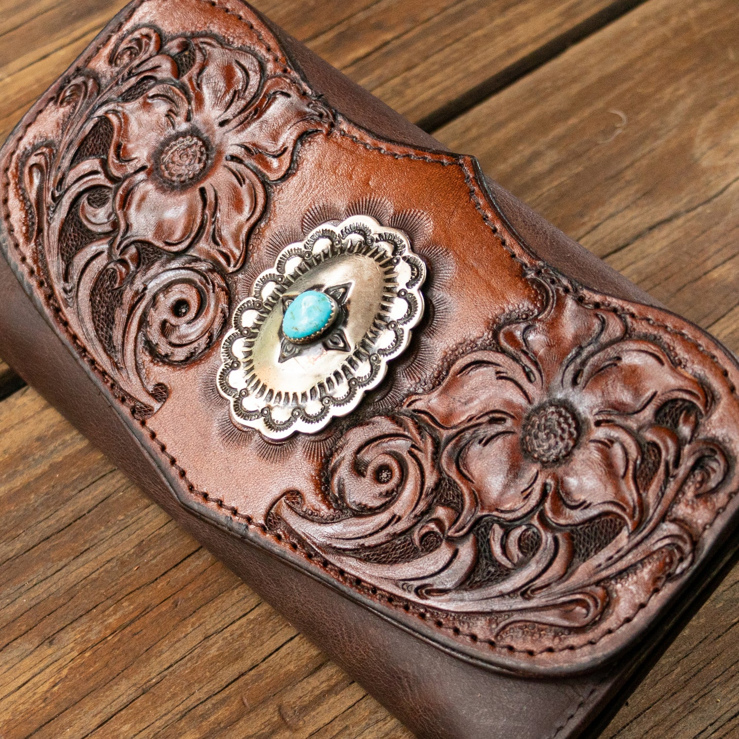 Western Floral Wallet with Genuine Concho - Buffalo Girl