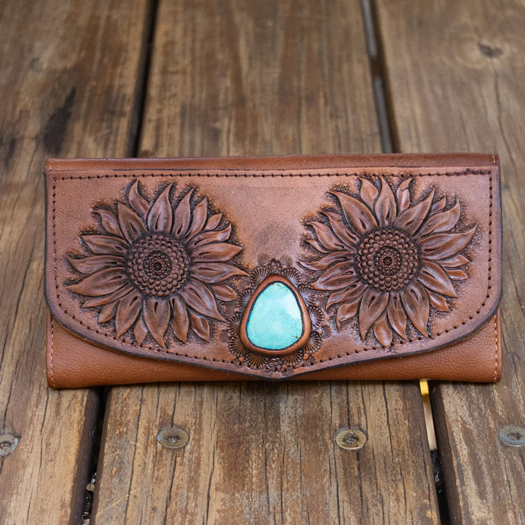 Sunflower Wallet with High Grade Turquoise