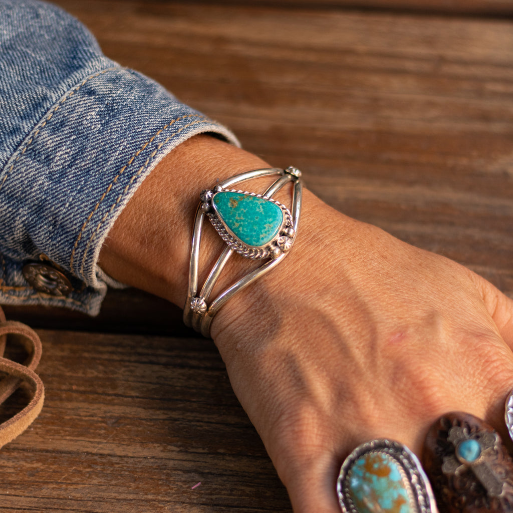 Sterling Silver Zuni Cuff with Kingman Turquoise