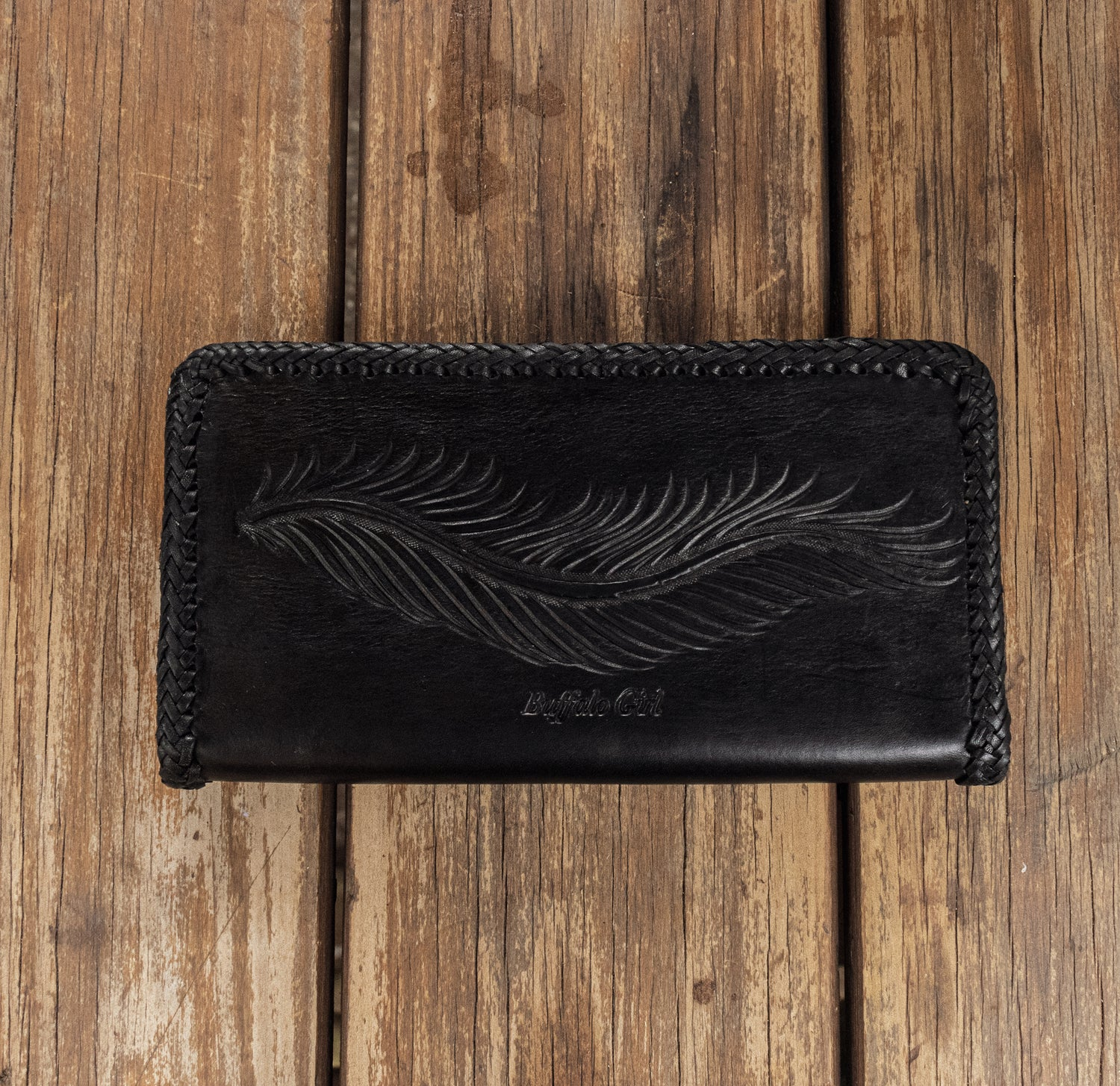 Large Guardian Wings Zip Wallet with Turquoise - Black