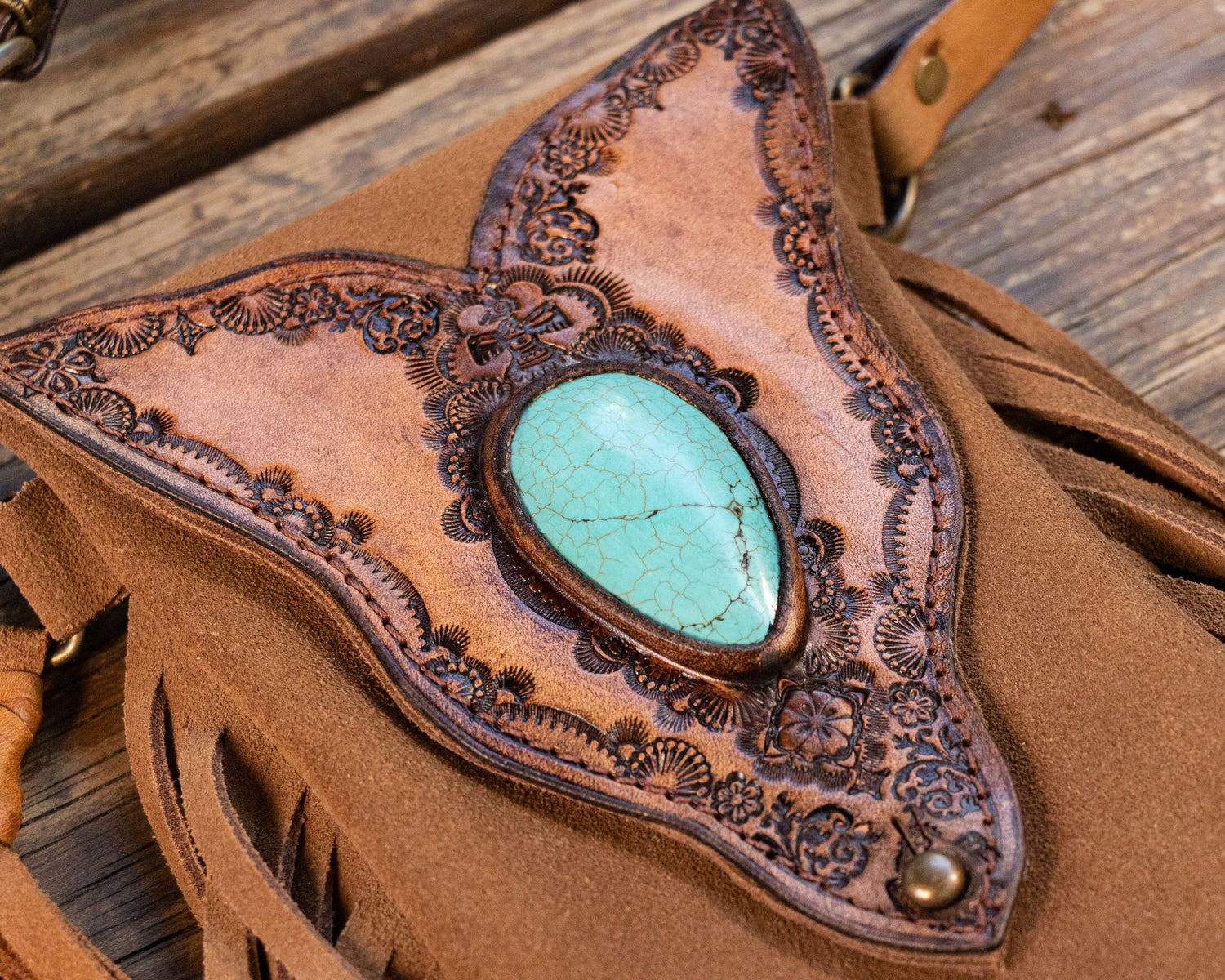 Gypsy Wanderer Phone Pouch with Turquoise