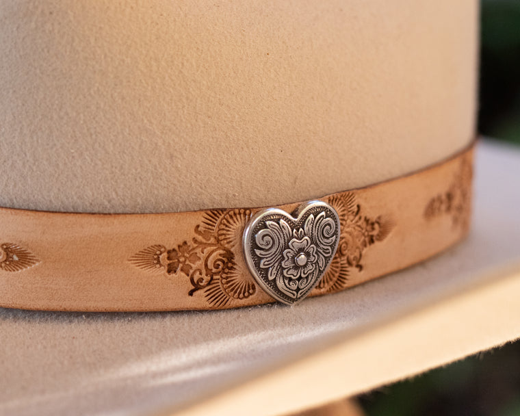 Hand Stamped Hat Band with Heart Conchos