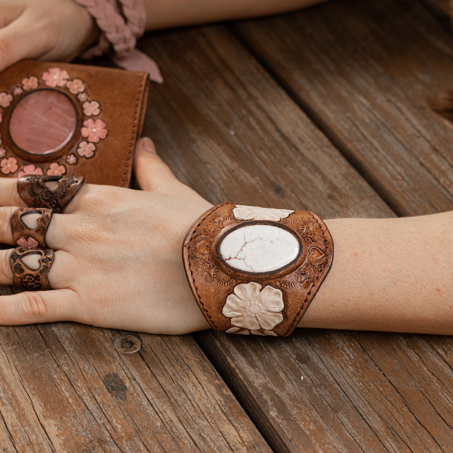 Desert Bloom Cuff with Howlite