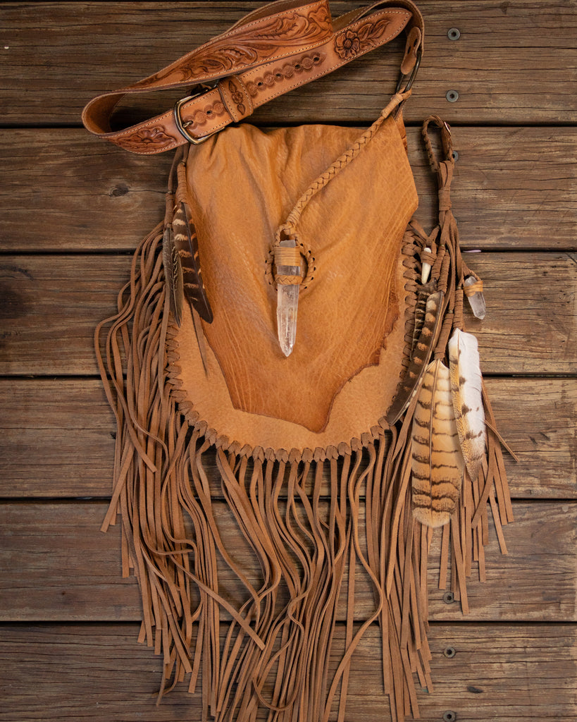 Priestess Bag with Clear Quartz Fastening - Buffalo Girl