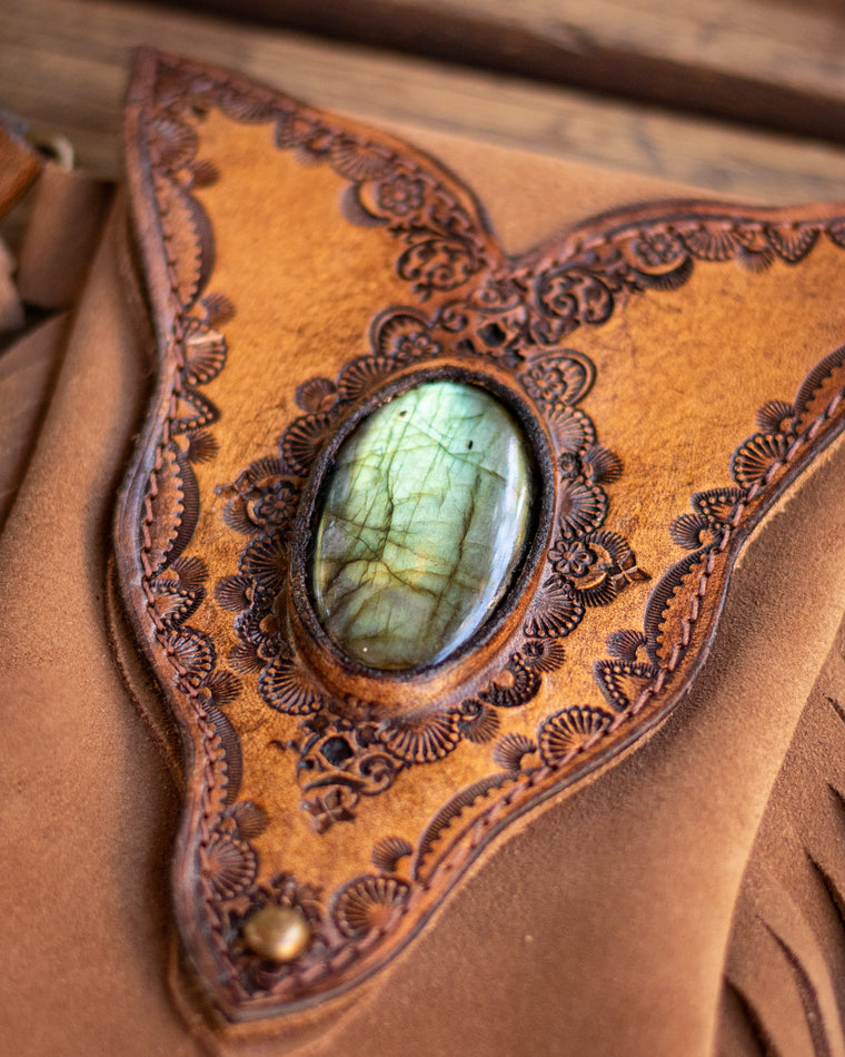 Gypsy Wanderer Phone Pouch with Labradorite - Buffalo Girl