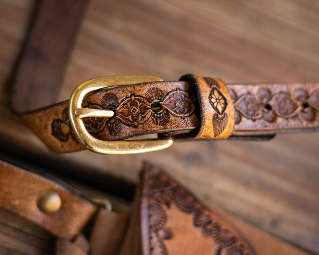 brass-gold-buckle-tooled-leather-strap