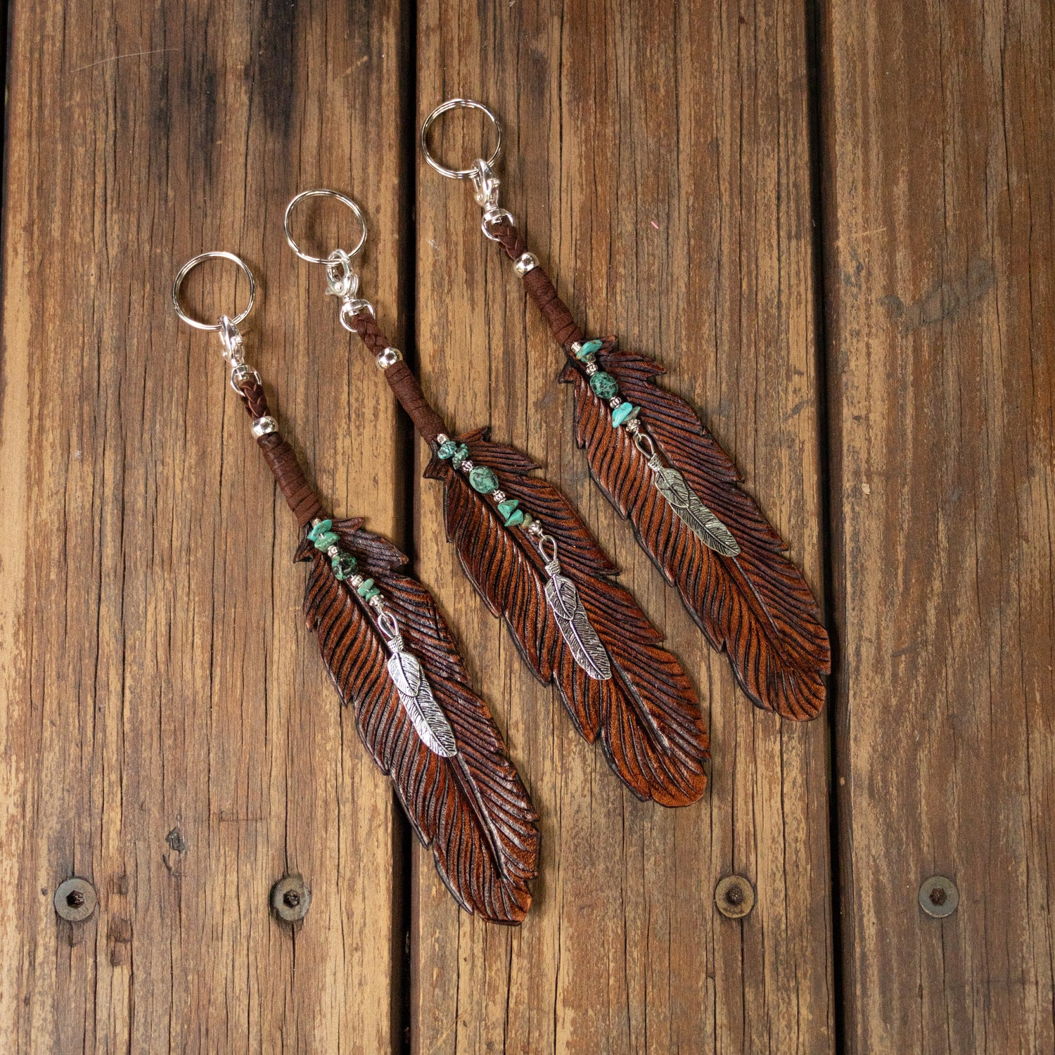 buffalo-girl-leather-feather-key-rings