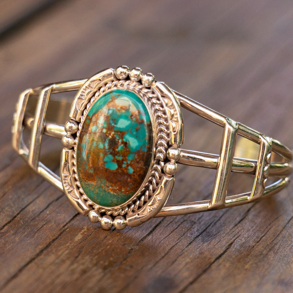 Sterling Silver Vintage Zuni Cuff with Royston Turquoise
