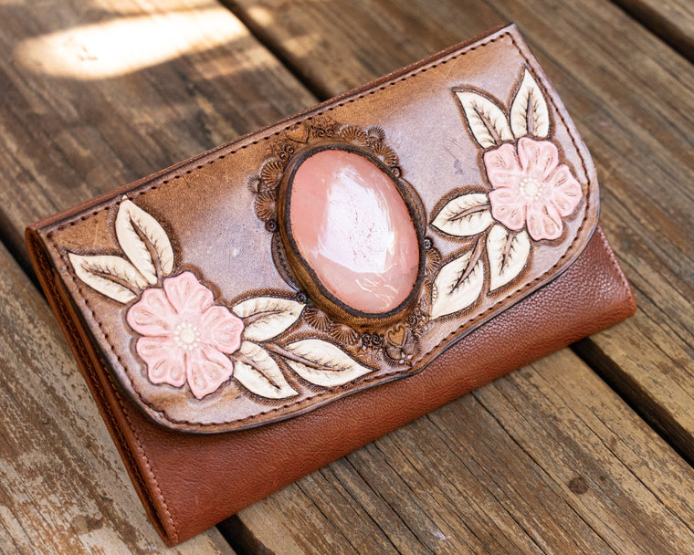 Hand Painted Flower Wallet with Rose Quartz