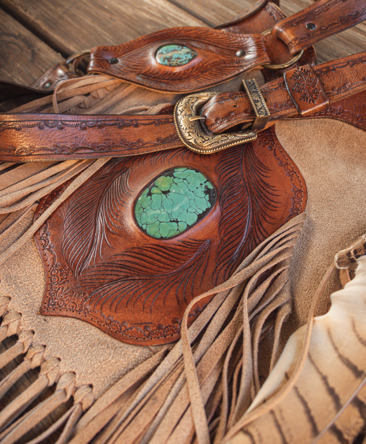 Vintage Apache Tasseled Bag with Turquoise