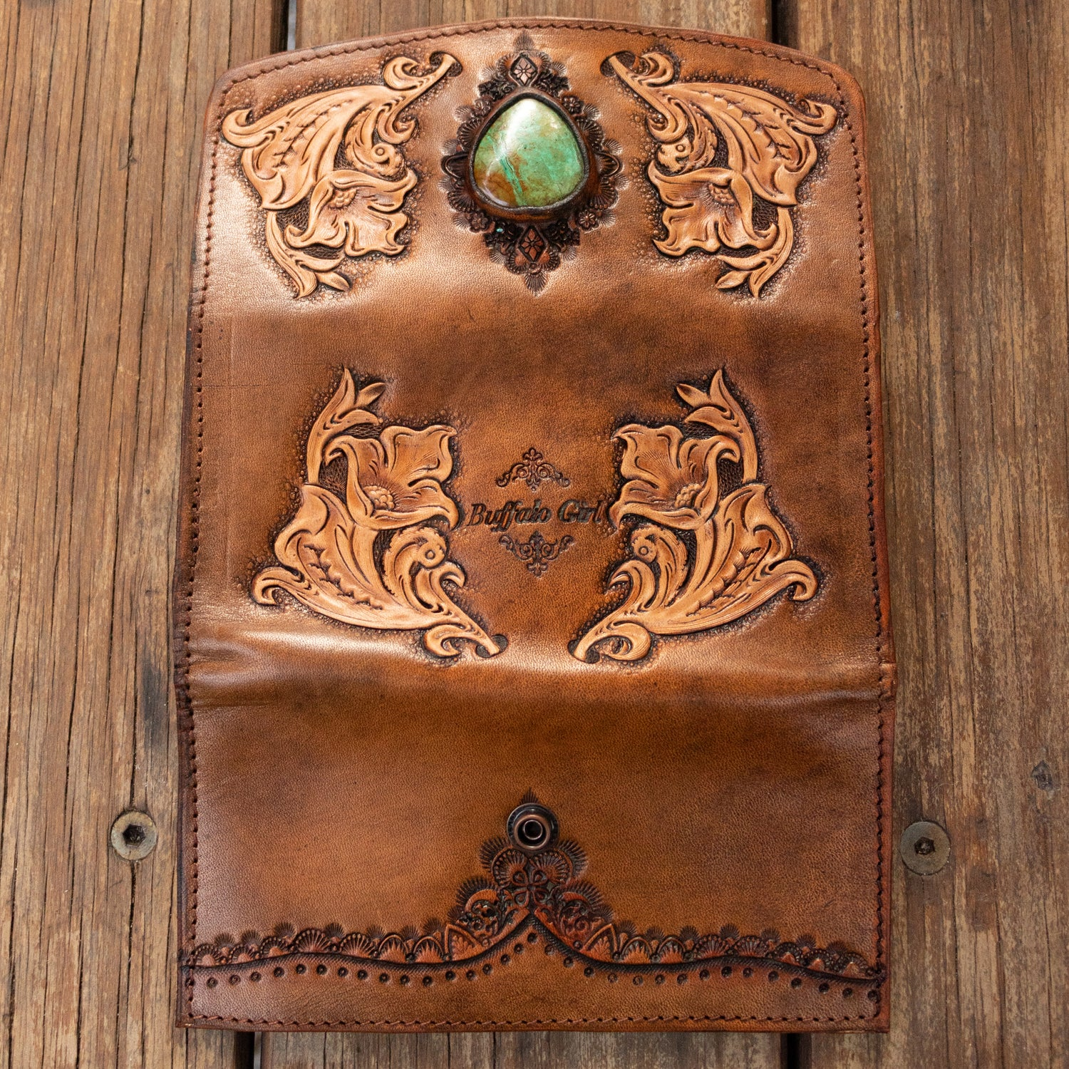 Western Floral Wallet with High Grade Turquoise