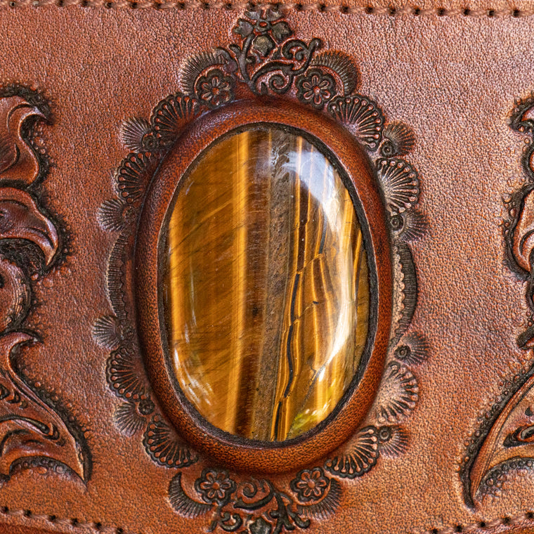 Western Floral Wallet with Tiger's Eye