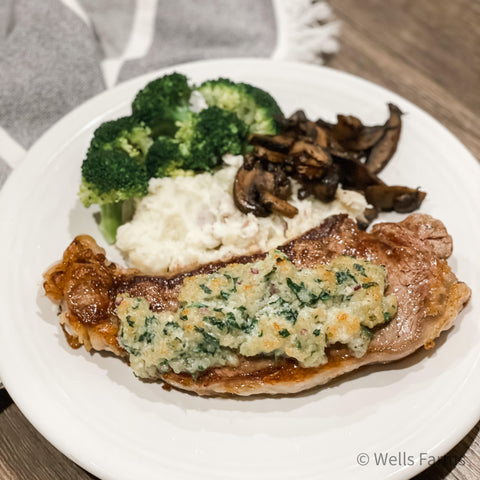 Wells Farms NY Strip Steak - Blue Cheese Crusted NY Strip Steak Recipe - Local Beef Near Me - Madison, WI